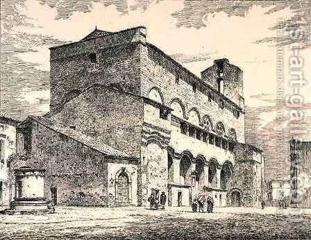 Palazzo Pubblico, Orvieto, Italy, from 'Examples of the Municipal, Commercial, and Street Architecture of France and Italy from the 12th to the 15th Century' by (after) Anderson, R. - Reproduction Oil Painting