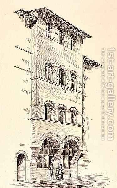 View of a Brick House, Montepulciano, Italy, from 'Examples of the Municipal, Commercial, and Street Architecture of France and Italy from the 12th to the 15th Century' by (after) Anderson, R. - Reproduction Oil Painting