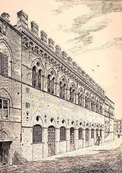 Palazzo Grotanelli, from 'Examples of the Municipal, Commercial, and Street Architecture of France and Italy from the 12th to the 15th Century' by (after) Anderson, R. - Reproduction Oil Painting