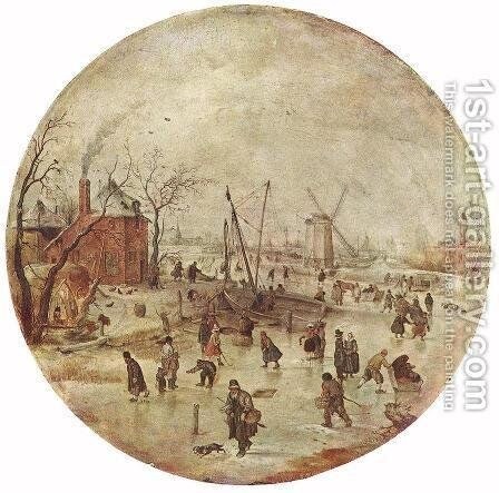 Winter Landscape With Skaters by Hendrick Avercamp - Reproduction Oil Painting