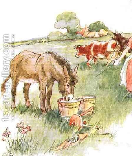 Saw two pails full of milk and had a long lovely drink by Anne Anderson - Reproduction Oil Painting