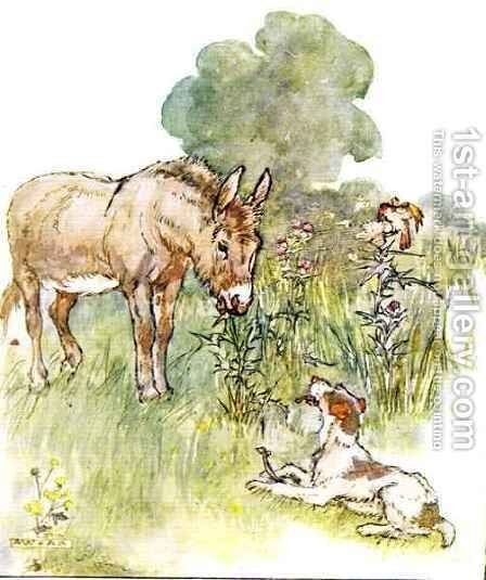 Had a talk to Ponto who came to my field with a bone by Anne Anderson - Reproduction Oil Painting