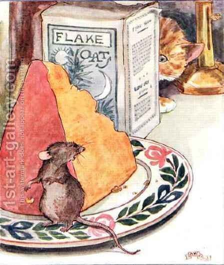 Having a bit of supper - prime Stilton by Anne Anderson - Reproduction Oil Painting