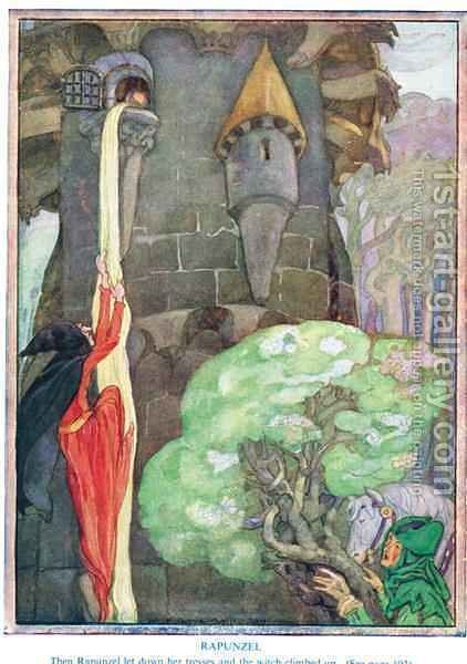 Illustration from 'Rapunzel' by Anne Anderson - Reproduction Oil Painting