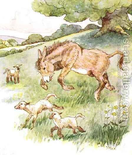 I romped all day in the sunny meadow with the silly little lambs by Anne Anderson - Reproduction Oil Painting