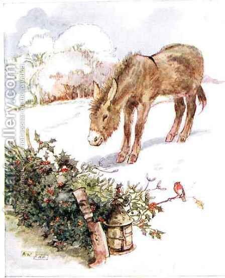 'Very cold and ground all white. Can't find anything to eat', illustration from 'The Naughty Neddy Book' by Anne Anderson - Reproduction Oil Painting
