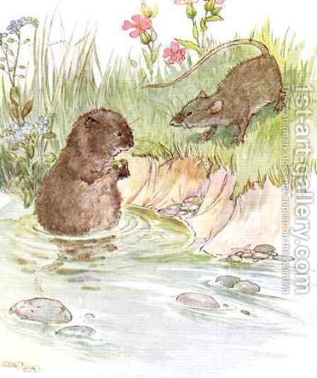 'Called on Squire Water Rat, old friend of the family', illustration from 'The Mischievious Mousie Book' by Anne Anderson - Reproduction Oil Painting