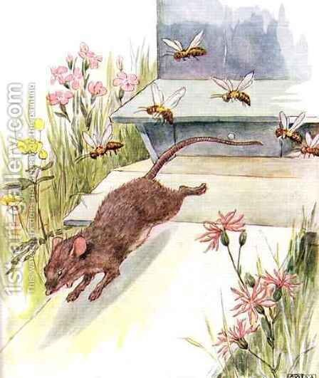 'They rushed at me buzzing and humming and tried to sting', illustration from 'The Mischievious Mousie Book' by Anne Anderson - Reproduction Oil Painting