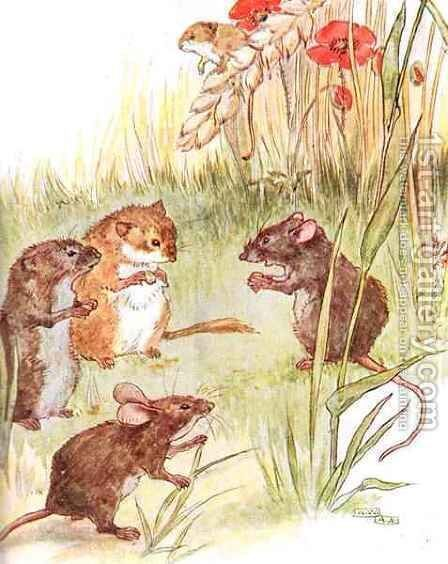 'Am staying with friends in the country', illustration from 'The Mischievious Mousie Book' by Anne Anderson - Reproduction Oil Painting
