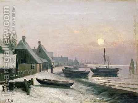 Fishing Boats in the Winter Sunlight by Anders Andersen-Lunsby - Reproduction Oil Painting