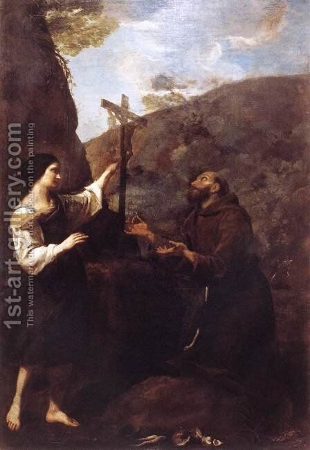 St Francis And Brother Leo Meditating On Death by Diego De Astor - Reproduction Oil Painting