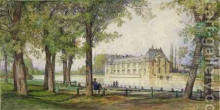 View of the Petit Chateau de Chantilly by Auguste-Paul-Charles Anastasi - Reproduction Oil Painting