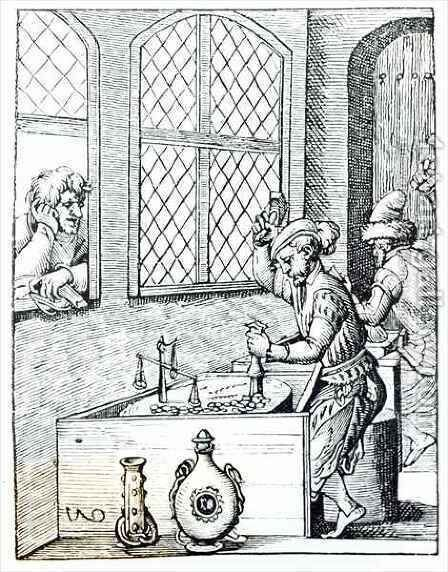 Officer of the Mint, illustration from 'Science and Literature in the Middle Ages and the Renaissance' by (after) Jost Amman - Reproduction Oil Painting