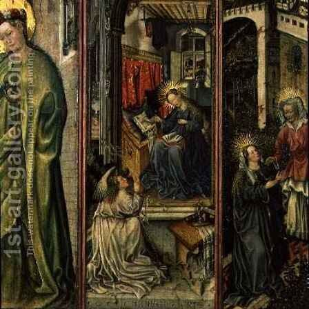 Annunciation, centre left panel of polyptych by (after) Jost Amman - Reproduction Oil Painting