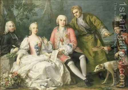 Portrait Group of the Singer Farinelli and Friends by Jacopo (Giacomo) Amigoni - Reproduction Oil Painting