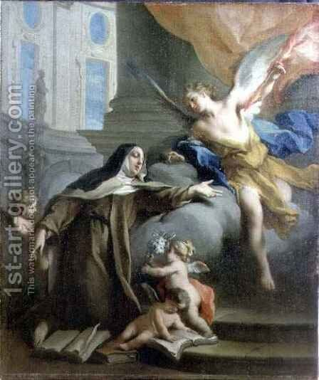Vision of St. Theresa by Jacopo (Giacomo) Amigoni - Reproduction Oil Painting