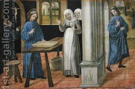 The Prayer, The Miracle of the Sieve and the Departure for Subiaco, predella panel from an altarpiece depicting Scenes from the Life of St. Benedict by Ambrogio da Fossano (Il Bergognone) - Reproduction Oil Painting