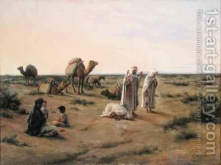 Praying in the Desert by J. Alsina - Reproduction Oil Painting