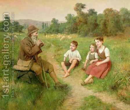 Children Listen to a Shepherd Playing a Flute by J. Alsina - Reproduction Oil Painting
