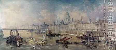 Design for the Thames Embankment, view looking upstream by Allote - Reproduction Oil Painting