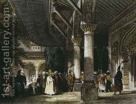 Interior of Topkapi Palace with Gate of Felicity (Bab-i-Saadet) Istanbul by Allote - Reproduction Oil Painting