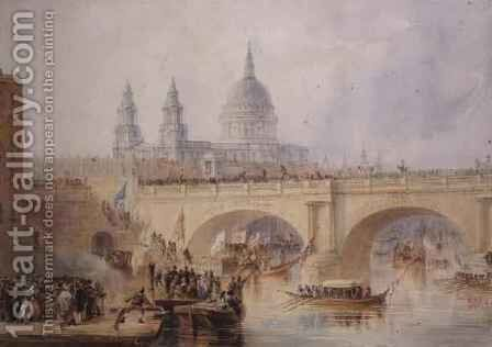 Disembarkation of the Lord Mayor at Blackfriars Bridge by Allote - Reproduction Oil Painting