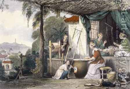 Destroying the Chrysalids and Reeling the Cocoons, from 'China in a Series of Views' by (after) Thomas Allom - Reproduction Oil Painting