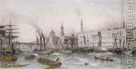 The Port of London by (after) Thomas Allom - Reproduction Oil Painting