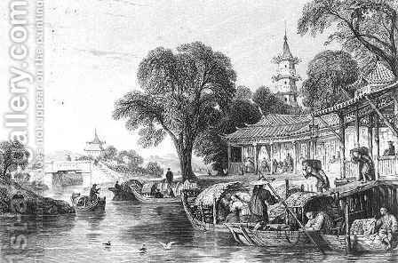 Silk Farms at Hoo-Chen by (after) Thomas Allom - Reproduction Oil Painting