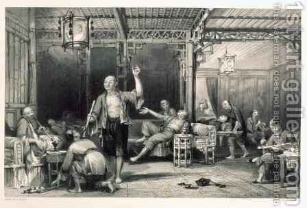 Chinese Opium Smokers, from 'China in a Series of Views' by (after) Thomas Allom - Reproduction Oil Painting