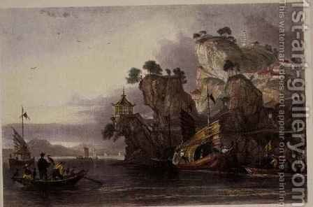 The Imperial Palace at Tseaou-Shan, from 'China in a Series of Views' by (after) Thomas Allom - Reproduction Oil Painting