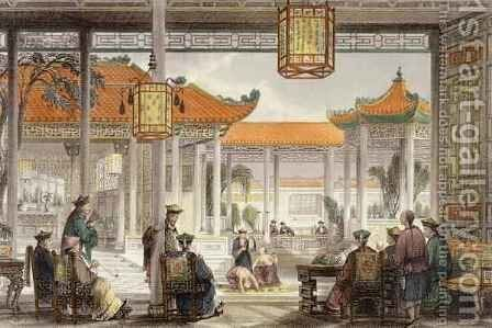 Jugglers Exhibiting in the Court of a Mandarin's Palace, from 'China in a Series of Views' by (after) Thomas Allom - Reproduction Oil Painting