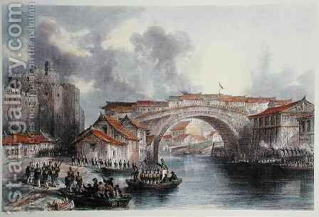 West gate of Ching Keang Foo by (after) Thomas Allom - Reproduction Oil Painting