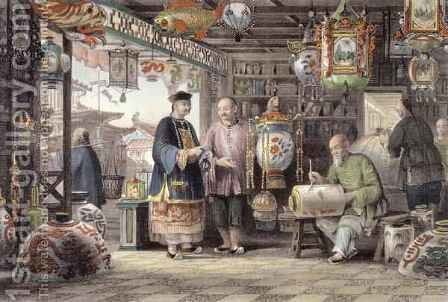 Showroom of a Lantern Merchant in Peking, from 'China in a Series of Views' by (after) Thomas Allom - Reproduction Oil Painting