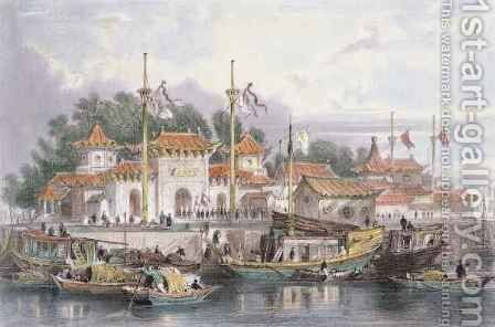 Military Station of the Chinese near the City of Chokian by (after) Thomas Allom - Reproduction Oil Painting