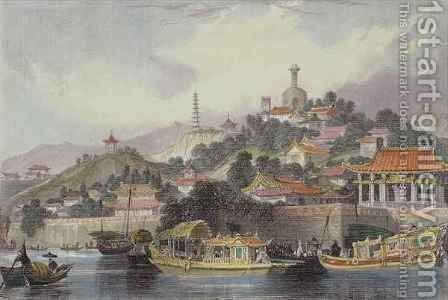Garden of the Imperial Palace, Peking, from 'China in a Series of Views' by (after) Thomas Allom - Reproduction Oil Painting