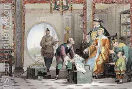 Apartment in a Mandarin's House, near Nanking, from 'China in a Series of Views' by (after) Thomas Allom - Reproduction Oil Painting