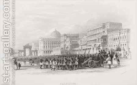 Calcutta, the Esplanade by (after) Thomas Allom - Reproduction Oil Painting