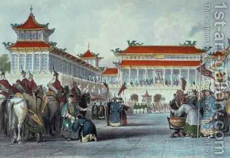 The Emperor Teaon-Kwang Reviewing his Guards, Palace of Peking, from 'China in a Series of Views' by (after) Thomas Allom - Reproduction Oil Painting