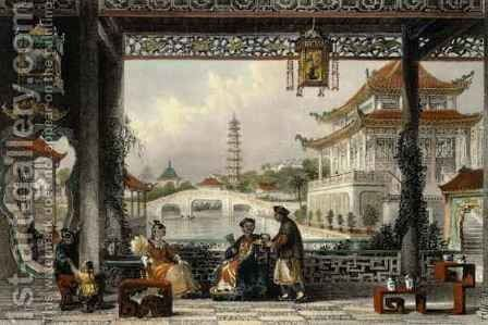Pavilion and Gardens of a Mandarin near Peking, from 'China in a Series of Views' by (after) Thomas Allom - Reproduction Oil Painting