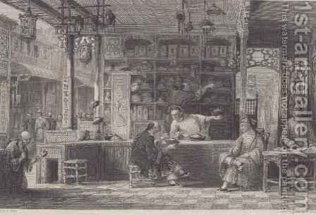 Cap Vendor's Shop, Canton, from 'China in a Series of Views' by (after) Thomas Allom - Reproduction Oil Painting