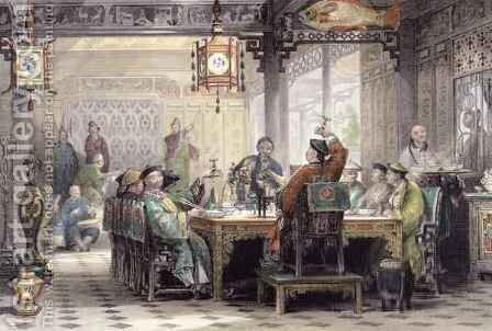 Dinner Party at a Mandarin's House, from 'China in a Series of Views' by (after) Thomas Allom - Reproduction Oil Painting