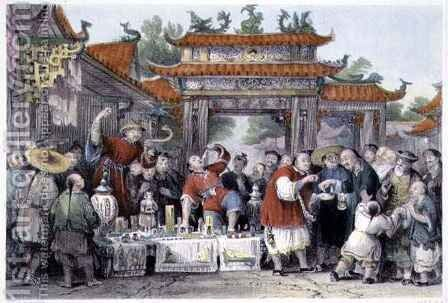 An Itinerant Doctor at Tien-Sing, from 'China in a Series of Views' by (after) Thomas Allom - Reproduction Oil Painting