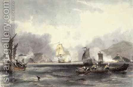 HM Ships Imogene and Andromache passing the Batteries of the Bocca-Tigris by (after) Thomas Allom - Reproduction Oil Painting