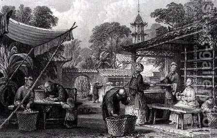 Feeding Silkworms and Sorting Cocoons by (after) Thomas Allom - Reproduction Oil Painting