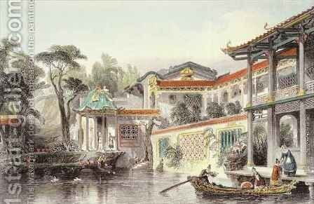 House of Conseequa, a Chinese Merchant, in the Suburbs of Canton, from 'China in a Series of Views' by (after) Thomas Allom - Reproduction Oil Painting