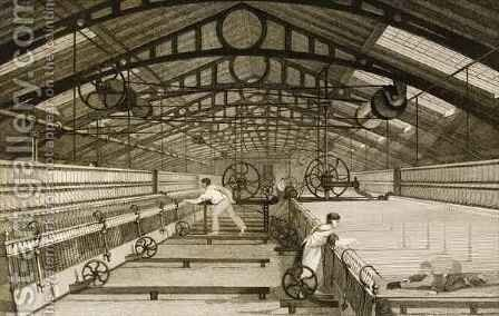 Cotton factory floor, showing workers mule spinning by (after) Thomas Allom - Reproduction Oil Painting