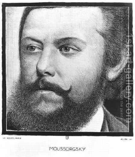 Portrait of Modest Petrovich Moussorgsky (1839-81) by Allen - Reproduction Oil Painting