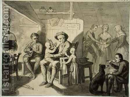 Illustration to 'The Cottar's Saturday Night' by Robert Burns by Sir Alexander Allan - Reproduction Oil Painting