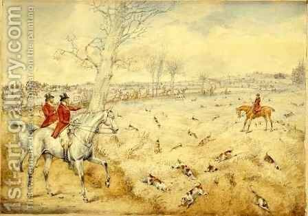 Hunting Scenes Over the Hedge by Henry Thomas Alken - Reproduction Oil Painting